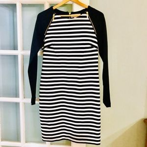 Michael Kors Navy and White Long Sleeve Dress Sz 4